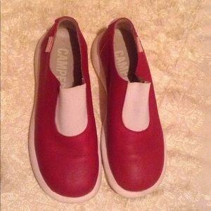 Camper Shoes - Red and White Slip on Camper Shoes.